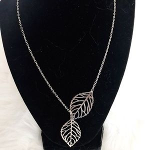 Jewelry - Silver Colored Dainty Double Leaf Necklace NWOT